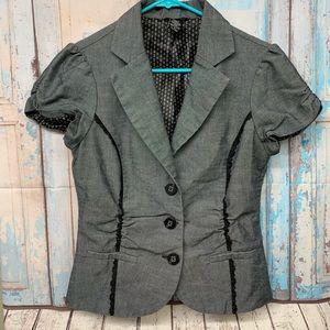 Maurice's Gray Short Sleeve Button Up Blazer sz M